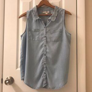 5/$25 Lauren Conrad beautiful jean top, size M